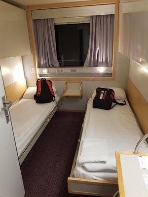 Unser Zimmer für die Überfahrt in der Nacht nach Frankreich
