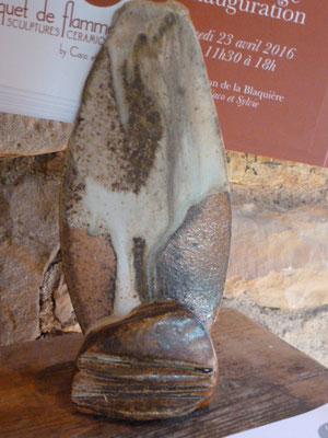 Porte cartes grès cuisson four à bois décoration cendre de lavande - Sylvie Ruiz -