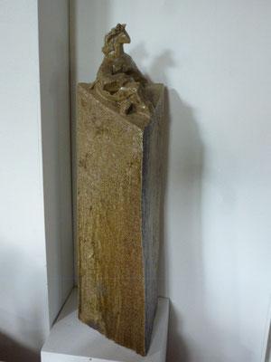 """""""Tour Femme"""" Sculpture grès noir cuisson Noborigama H52cm """"Pièce Unique"""" -Juan José Ruiz dit """"Caco""""  Artiste Sculpteur/Auteur"""