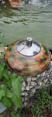 Petroleumlampe 2, coloriert, Ø: 200 mm, H: 100 mm,   Verkauft!