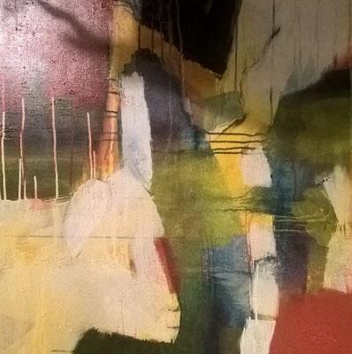 """Einohr"" 80x80 cm Acryl, Sand auf Leinwand"