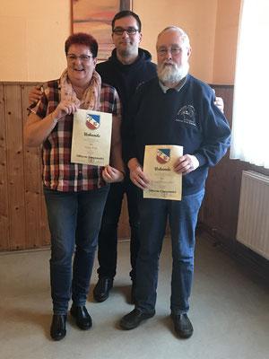 Für 15 jährige Mitgliedschaft wurden geehrt: von links: Ilona Pott, Kai Förster und Sven Schroeder