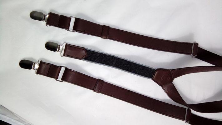 bretelles en cuir marron, bretelles homme,fabriqué en france, bretelles artisanales,travail du cuir