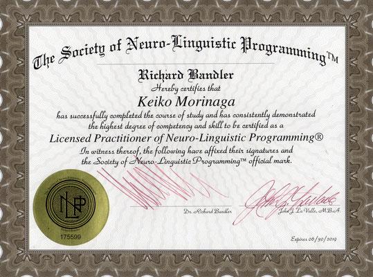 NLP認定プラクティショナー証
