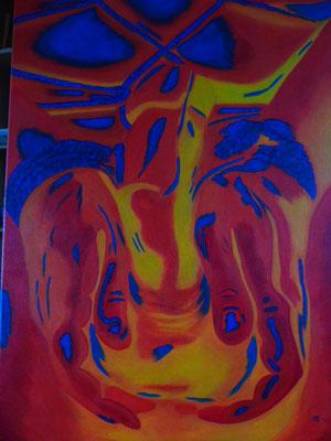 99,- Kleurrijke penisbondage. Straalt kracht en trots uit maar ook overgave en kwetsbaar durven zijn, zonder aan kracht in te boeten. 60x80 3D Acryl