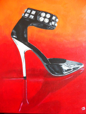 50,- Kinky high heel met studs.  30x40 Acryl