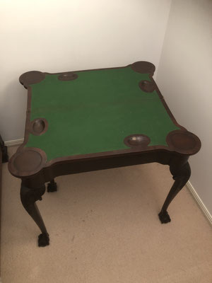 Mahogany Card Table Open with Coin and Candle Holders | Circa 1810 | Price: $850.00