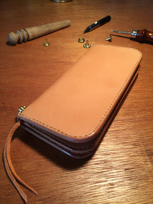 Long Wallet #2 .      Material : Hermann Oak Leather . brass/ Size : 195mm × 102mm × T 18mm