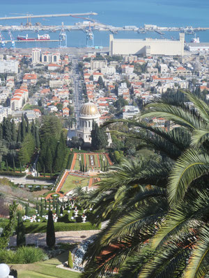 Looking down on the Terraces of the Baha'i faith