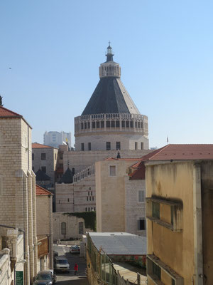 Looking towards the Roman Catholic Basilica of the Annunciation built in 1969
