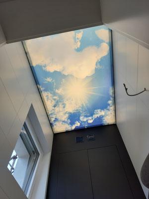 Motivedecke, Fotodecke, Himmel mit Wolken, vollflächig hinterleuchtet,  Foto:  MERLIN