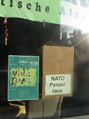 Februar 2017: Protestplakat in einem Cottbuser Schaufenster