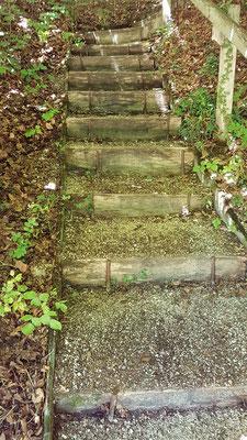 Treppe vom Klinikparkplatz hoch zur Feuerstelle mit dem grossen Holzhaus, frisch gesäubert