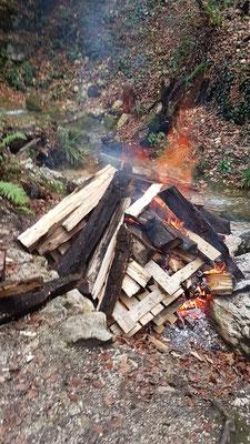 Eine Unmenge von nicht mehr Feuerstellen gerechtem Holz wurde hier verbrannt.