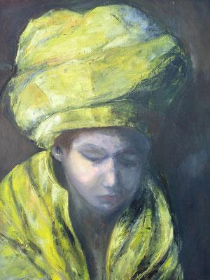 kind met gele tulband-  olieverf op doek 60x70 €450