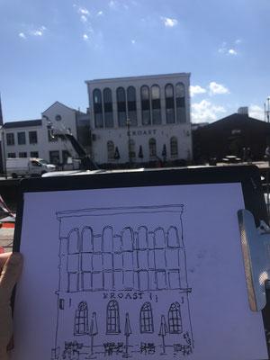 Urban sketch van de trouwlocatie