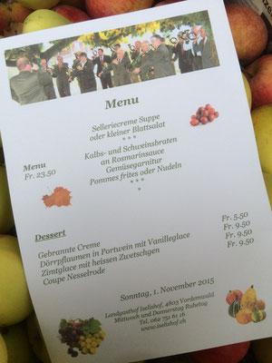 wunderbares Essen im Iselishof Vordemwald mit persönlicher Menuekarte