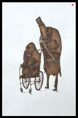 """""""Der stille Dank!"""" 35 x 24cm, Mischtechnik/Bütten, 2009 - 300 EUR - VERKAUFT"""