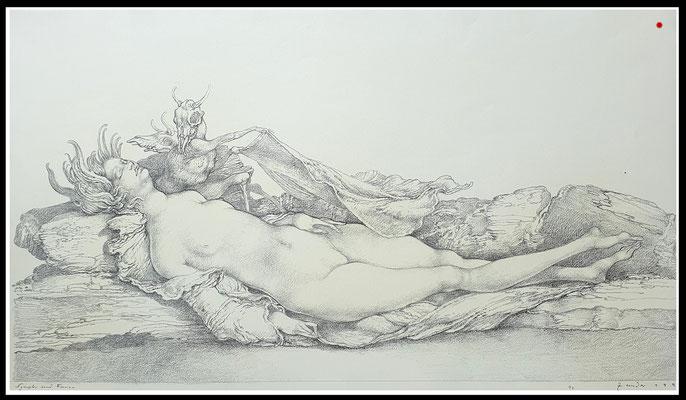 """""""Nymphe und Faune"""" 33x60cm, Graphit/Bütten, 1991 - VERKAUFT"""