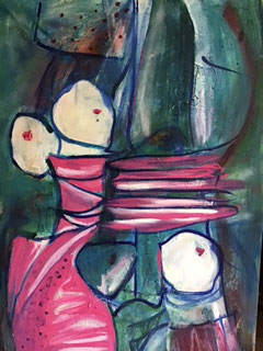 """Gefesselte"", Acryl, Leinwand, 1,50x1,00"