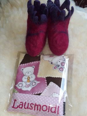 """Wärmekissen in Teddy rosa, die passenden Filzschuhe gibts bei """"Filz vom Wolf"""""""