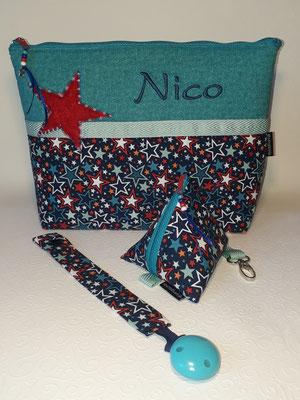 Wickeltasche mit appliziertem Stern mit Farbverlaufsgarn, Schnullertasche, Schnullerkette (mehr unter Baby..., Wickeltaschen)