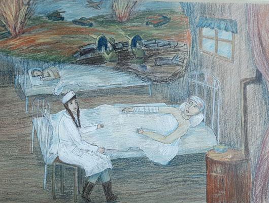 Мартынова Даша, 14лет, В военном госпитале, кремовые карандаши