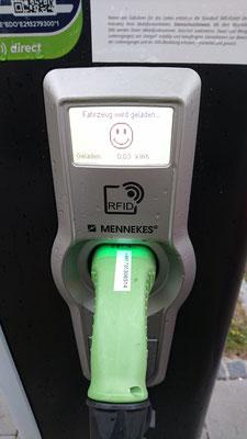 89ct pro kWh weil der RFID Leser meine Maingau Karte nicht akzeptiert hat      :-)  ->  :-(