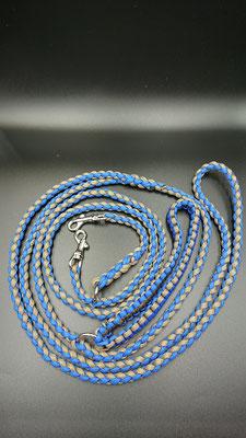 Kさんちのリード ロイヤルブルー×オリーブタン クールで落ち着いた配色 小さないのち仕様(Wナスカン 袈裟懸け仕様)