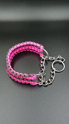 Mちゃんのハーフチョークカラー ネオンピンク×チャコールグレー ピンク鮮やかで目立ってかっこいいね