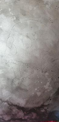okay kein Problem, Hintergrund in silber und anthrazit, dann den Totenkopf skizzieren