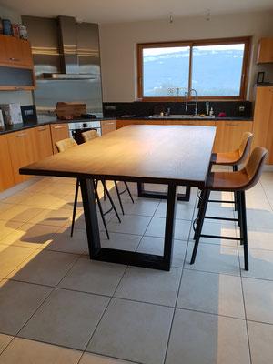 pieds métalliques pour table plateau bois