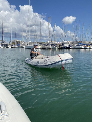 "To have fun and pass time a little more quickly, Martin of Sailing Catamaran Lunara and I make our daily ""Dinghy-Rounds"" through the marina ..."