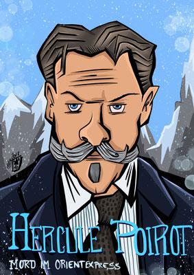 Kenneth Branagh spielt Hercule Poirot Karikatur by Tanja Graumann