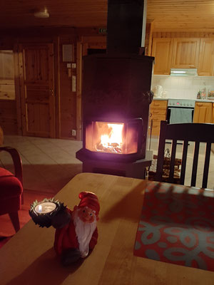hygge fireplace at KRT Cabins