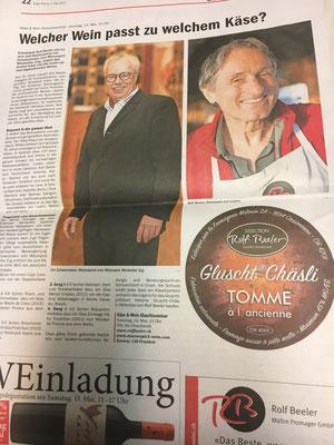 In der erstmaligen Gluscht Akademie dabei: Mövenpick Zug Weine von Urs Schwerzmann sowie feinste Käse von Rolf Beeler gluschtig präsentiert