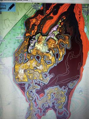 Schweriner See in Reefmaster. Die Tiefenlinien sind grau dargestellt.