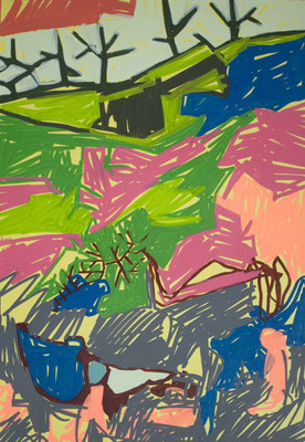 konvergenz_sat30_09, 30x20cm, Acryl auf Papier, 2010