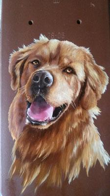 Hunde-Portrait auf Ziegel I