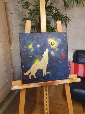 ~krafttier wolf~ 40cm x 40cm