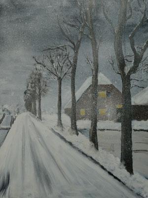Sneeuwlandschap, olieverf, 60x80cm