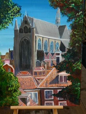 Pieterskerl Leiden, olieverf, 50x60cm