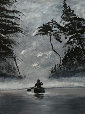 Eenzaam op het meer, Acryl, 40x50cm
