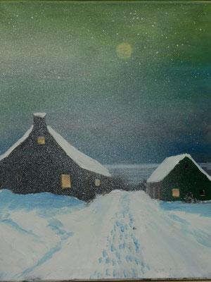 Huisje in de sneeuw, olieverf, 40x50cm