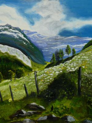 Alpenlandschap, olieverf, 50x60cm