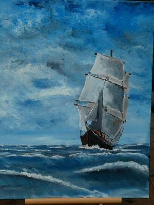 Zeilschip, olieverf, 50x60cm