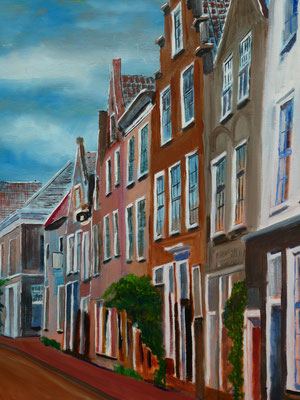 Straatje in Leiden, olieverf, 50x60cm