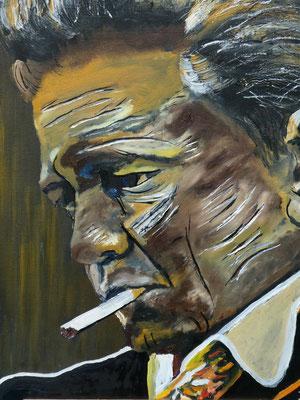 Johnny Cash, olieverf, 40x50cm, niet te koop