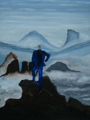 Variatie op Caspar David Friedrichs 'On top of the world', olieverf, 60x80cm