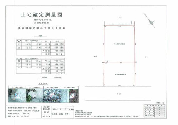 北区田端新町2丁目土地確定測量図